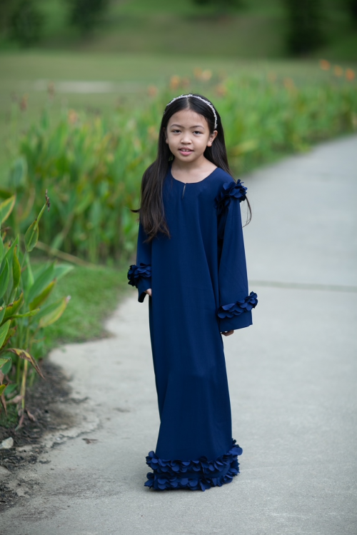 Ready Stocks Kids Abaya Mekar Dark Blue